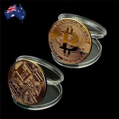 AU7.50 • Buy 2x Bitcoin Gold Plated Physical Metal Coin Case Cryptocurrency Collectable