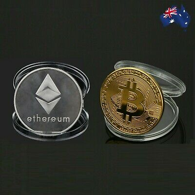 AU5.95 • Buy Bitcoin & Ethereum Gold Silver Plated Physical Metal Coin Case Cryptocurrency