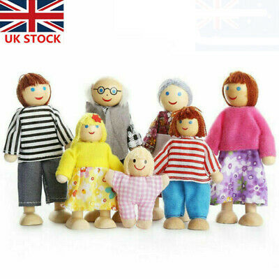 £7.98 • Buy Wooden Family Dolls 7 People Set Furniture House Miniature Doll Toys For Kids