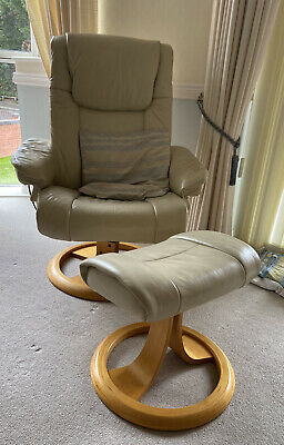 £135 • Buy Gorgeous Leather Recliner Chair And Foot Stool.