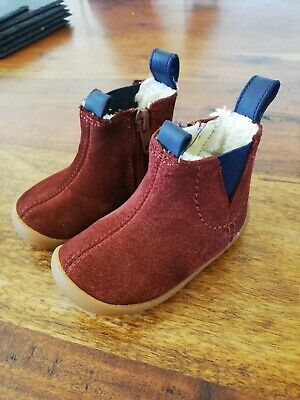 £3.50 • Buy CLARKS Toddler Girl Boy Cruiser Burgundy Leather Suede Boots Fur Lined 3 G