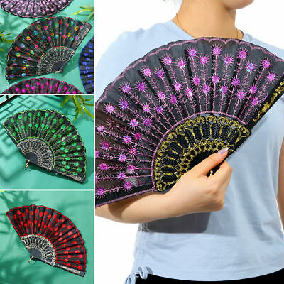 £3.95 • Buy NEW Ladies Hand Fan Folding Lace Silk Fans Peacock Feather Printed Chinese Style