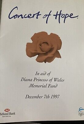 £9.99 • Buy Concert Of Hope 1997 For Diana Princess Of Wales Souvenir Programme London