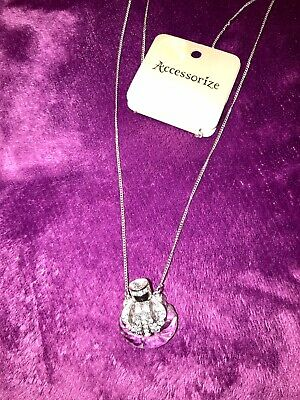£4.99 • Buy Accessorize Long Silver Necklace  Perfume Bottle Pendant Ladies Birthday Gift