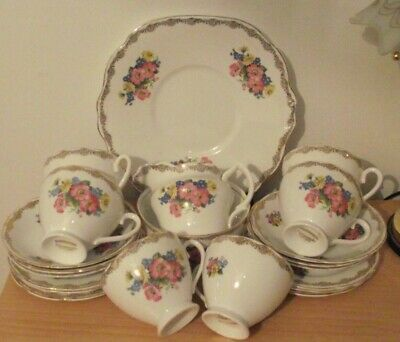 £24.99 • Buy Lovely Delicate English China Vintage Staffordshire 21 Piece Floral Tea Set