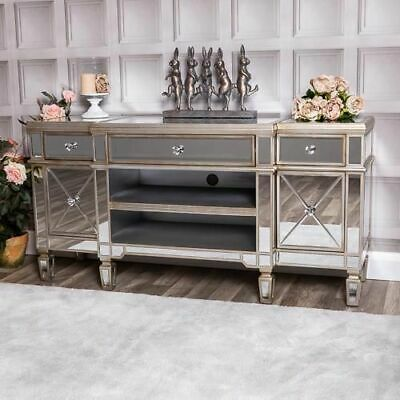 £10.50 • Buy Large Champagne Mirrored Television Stand TV Unit Furniture Glass Cabinet Chic