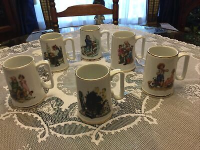 $ CDN18.66 • Buy Vintage 1985 Norman Rockwell Museum Coffee Mugs Cups Set Of 6 White W/ Gold Trim