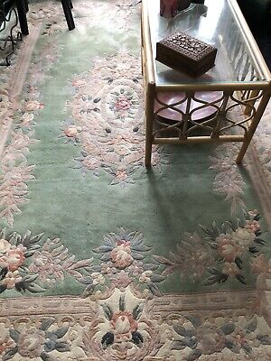 £30 • Buy Green Wool Chinese Rug Approx 9' X 6'