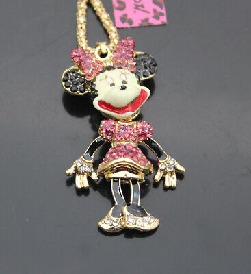 $0.99 • Buy 513M   Betsey Johnson Crystal Enamel Bow-knot Mouse Pendant Sweater Necklaces