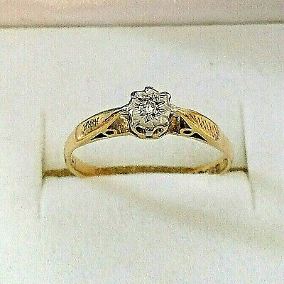 AU195 • Buy Vintage 18ct Yellow Gold Diamond Solitaire Ring - Size K - 16mm.
