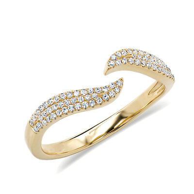 AU1044.79 • Buy 0.17 CT 14K Yellow Gold Real Diamond Pave Open Claw Wave Minimalist Space Ring