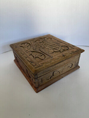 £8.50 • Buy Hand Carved Wooden Hinged Box. Red Lining