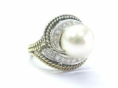 $1550 • Buy Pearl & Diamond Rope Ring Solid 14Kt Yellow Gold 10.9mm .50CT G-VS SIZEBLE