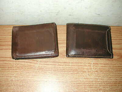 $19.50 • Buy Vintage Fossil Men's Brown Leather Bifold & Trifold Billfold Wallets, Lot Of 2