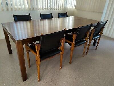 AU750 • Buy Set Of 6 Mid Century Modern Michael Hirst Safari Chairs & Campaign Dining Table