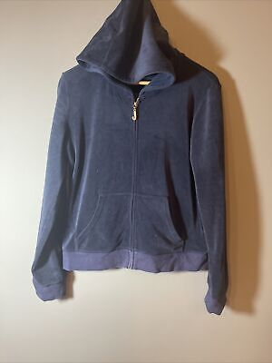 £5 • Buy Juicy Couture Ladys Blue Hooded Zip Up Tracksuit Top Uk 14-16