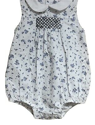 £0.99 • Buy Girls Mothercare Heritage Traditional Smocked Floral Romper Suit Size 3-6 Months