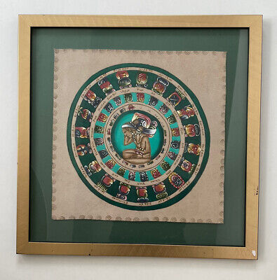 £22.99 • Buy Vintage Mexican Mayan Calendar - Hand Painted Leather In Frame