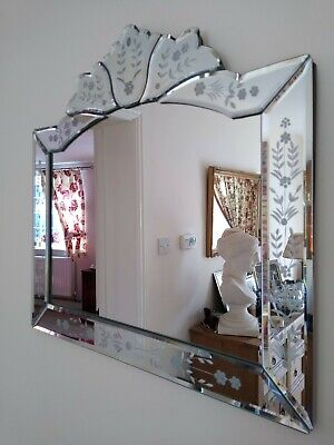 £27 • Buy Venetian All Glass Landscape Wall Mirror Etched Style Decoration