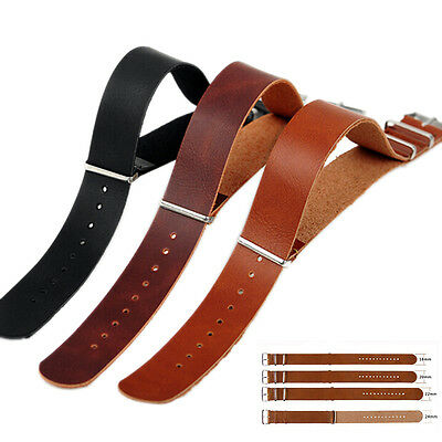 $2.19 • Buy Mens Faux Leather   Military Watch Strap Band 18/20/22/24mm Black BrowN-PN CH