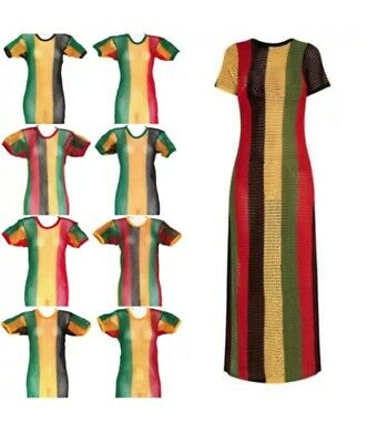 £7.99 • Buy Any Size Stringy Mesh Dress Jamaican Rasta Style Summer Dress A Lot In Stock