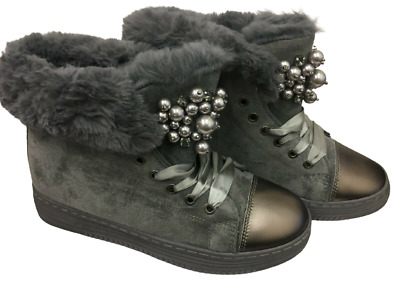 £9.99 • Buy Grey Rock Chic Boots Faux Fur Lined Beaded Lace Up Trainers Faux Suede