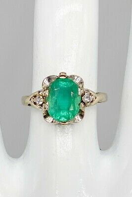 £472.68 • Buy Antique 1930s DECO AAA+++ 3ct Colombian Emerald Diamond 10k White Gold Ring