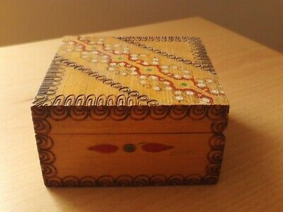 £4.99 • Buy Vintage Hand Painted Square Carved Wooden Box.