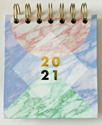 £2.19 • Buy Paperchase 2021 Month Easy Flip Mini Wiro Marble Desk Top Stand Up Planner