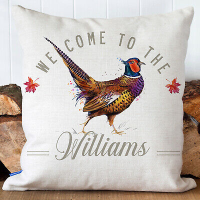 £12.95 • Buy Personalised Pheasant Cushion Cover Country Family Name Welcome Pillow KC100