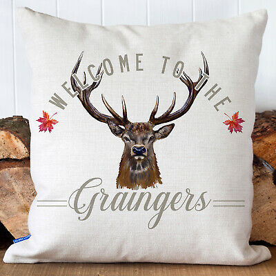 £12.95 • Buy Personalised Stag Cushion Cover Country Family Name Welcome Pillow Gift KC88