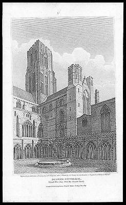 £13 • Buy 1805 Original Antique Print - DURHAM CATHEDRAL SOUTH WEST VIEW (054)