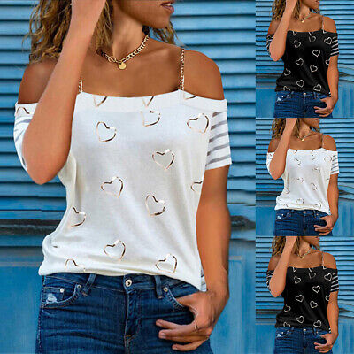 £9.69 • Buy Womens Heart Print Cold Shoulder Tops Ladies Summer Casual Loose Blouse T-Shirt