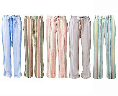 £13.95 • Buy M&S Marks Spencer Striped Linen Trousers Pull On Elasticated Waist Size 12 - 30