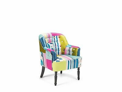 £239.99 • Buy Retro Fabric Upholstered Armchair Multicolour Patchwork Tufted Mandal