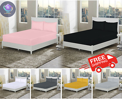 £7.90 • Buy 30CM, 40CM EXTRA DEEP Fitted Sheet Single Double Super King Bed Sheets All Size