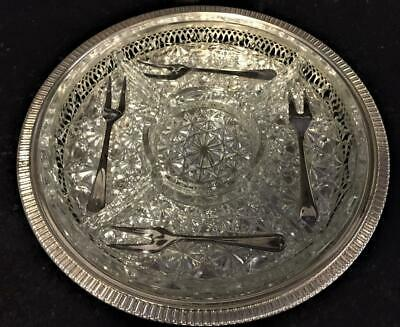 £17.50 • Buy Cavalier Silver Plated & Glass Circular 5 Section Hors D'Ourves Tray With Forks