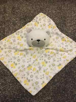 £9.99 • Buy Kyle And Deena White Bear Yellow And Grey Floral Comforter Baby Sofy Toy