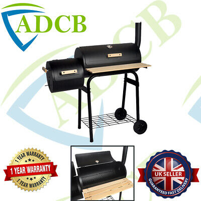 £99.99 • Buy Black Charcoal Grill Barbecue BBQ Grill Offset Smoker With Side Table Garden
