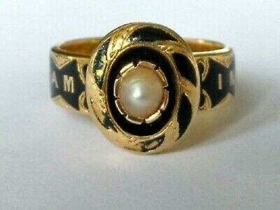 £379.99 • Buy Victorian 18ct Gold Enamel Pearl Mourning Ring With Compartment 1868  [GSP]