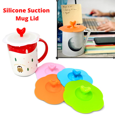 £5.99 • Buy 5 X Silicone Cup Lid Glass Drink Cover Anti-dust Coffee Mug Suction Seal UK NEW