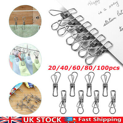 £6.99 • Buy Stainless Steel Washing Line Clothes Pegs Hang Pins Metal Wire Clips Fixed Clips