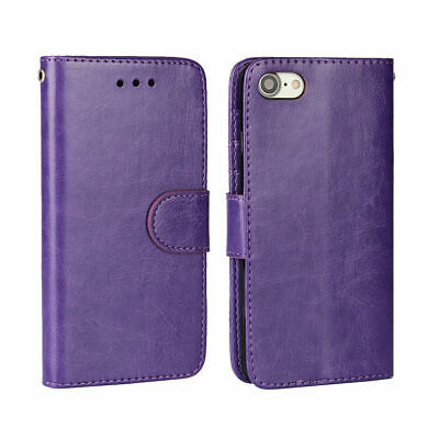 AU12.85 • Buy For IPhone 7+ 8+ Purple Card Slot Wallet Leather Case Cover With TPU Holder