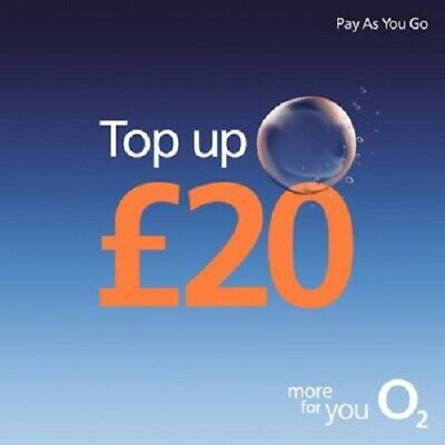 £20.95 • Buy O2 - £20 - Pay As You Go - Mobile Phone - Top Up Code / Voucher