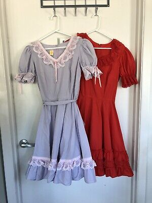 $45 • Buy Partners Please Malco Modes 2 Vintage Square Dance Dresses Size 12 Red Lilac