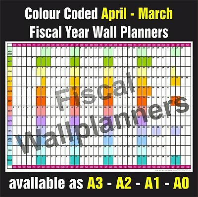 £5.99 • Buy FISCAL YEAR WALL PLANNER Organiser Event Planner April - March All Years & Sizes