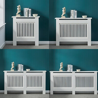 £32.99 • Buy Radiator Cover Wall Cabinet MDF Wood Furniture Vertical Grill White Modern Shelf
