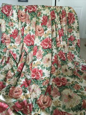 """£125 • Buy Sanderson Midsummer Rose Red Green Curtains W54  L90"""" Pinch Pleat (1 Of 2 Pairs)"""