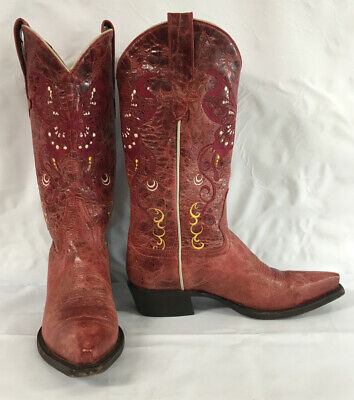 $69.75 • Buy Macie Bean Embroidered Distressed Red Butterfly Cowboy Boots Womens Sz (7)M