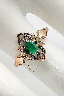 £309.06 • Buy Antique Victorian 1880s Colombian Emerald Pearl 14k Yellow Gold Ring RARE